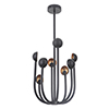 This item: Foundry Matte Black and Gold Leaf Eight-Light LED Chandelier