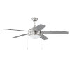 This item: Phaze Brushed Polished Nickel 52-Inch Five-Blade Two-Light Ceiling Fan with Graywood Blade
