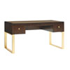 This item: Bel Aire Walnut and Gold Melrose Writing Desk