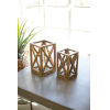 This item: Natural Recycled Wooden Candle Lantern with Glass Insert, Set of 2