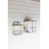 This item: Brown and Metal Wire Basket Shelves With Recycled Wood Tops, Set of Two