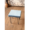 This item: Steel Blue Velvet Stool with Channel Stitch top and Iron Led