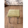 This item: Avocado Velvet Stool with Channel Stitch top and Iron Led