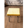 This item: Honey Velvet Stool with Channel Stitch top and Iron Led