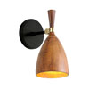 This item: Utopia Satin Black Six-Inch One-Light LED Wall Sconce with Acacia Shades