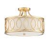This item: Graham Antique Gold 15-Inch Three-Light Semi Flushmount