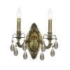 This item: Dawson Antique Brass Two-Light Golden Teak Swarovski Strass Wall Mount