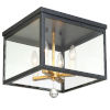 This item: Weston Matte Black and Antique Gold Four-Light Flush Mount