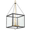 This item: Weston Matte Black and Antique Gold 14-Inch Four-Light Pendant