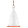This item: Fitzrovia White and Antique Brass One-Light Pendant