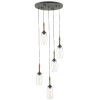 This item: Hightider French Black and Natural Five-Light Pendant