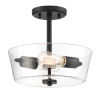This item: Westin Matte Black Two-Light Semi-Flush Mount with Clear Glass