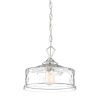This item: Drake Polished Nickel One-Light Down Pendant with Clear Hammered Glass