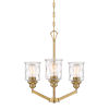 This item: Drake Brushed Gold Three-Light Chandelier with Clear Hammered Glass