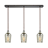 This item: Hammered Glass Oil Rubbed Bronze Three-Light Pendant