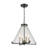 This item: The Holding Matte Black with Satin Brass Four-Light Pendant