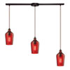 This item: Hammered Oil Rubbed Bronze Three Light Chandelier with Hammered Red Glass