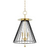 This item: Cagney Aged Brass Three-Light Pendant with Black Steel Shade