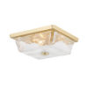 This item: Hines Aged Brass Three-Light Flush Mount with Piastra White Glass Shade