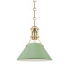This item: Painted No.2 Aged Brass 10-Inch One-Light Pendant with Leaf Green Steel Shade