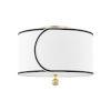 This item: Zara Aged Brass Two-Light Semi-Flush with Belgian Linen Shade
