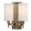 This item: Palmdale Aged Brass Two-Light Wall Sconce with White Shade