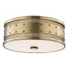 This item: Gaines Aged Brass Three-Light Flush Mount with Frosted Inside-Clear Outside Glass