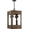This item: Winchester Bronze and Aged Wood Four-Light 14-Inch Pendant
