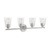 This item: Bransel Brushed Nickel Four-Light Bath Vanity with Clear Seeded Glass