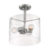 This item: Bransel Brushed Nickel Three-Light Semi-Flush Mount with Clear Seeded Glass