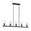 This item: Bransel Matte Black Five-Light Pendant with Clear Seeded Glass