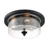 This item: Bransel Matte Black Three-Light Flush Mount with Clear Seeded Glass