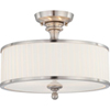 This item: Candice Brushed Nickel Three-Light Semi Flush Fixture w/Pleated White Shade