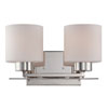 This item: Parallel Polished Nickel Two Light Vanity Fixture with Etched Opal Glass