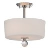This item: Connie Polished Nickel Two-Light Semi-Flush with Satin White Glass