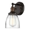 This item: Vintage Rustic Bronze One-Light 5-Inch Wide Wall Sconce with Clear Glass