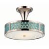 This item: Raindrop Polished Nickel Two-Light LED Semi-Flush Mount w/ White Glass and Removable Aquamarine Insert
