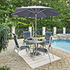 This item: South Beach 7 Piece Round Outdoor Dining Table and 4 Chairs with Umbrella and Base