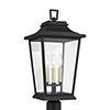 This item: Warren Textured Black Three-Light Outdoor Post Lantern