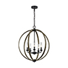 This item: Allier Weathered Oak Wood  and  Antique Forged Iron Five-Light Chandelier