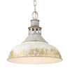 This item: Kinsley Aged Galvanized Steel 14-Inch One-Light Pendant with Antique Ivory Shade