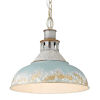 This item: Kinsley Aged Galvanized Steel 14-Inch One-Light Pendant with Antique Teal Shade