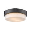 This item: Matte Black 11-Inch Two-Light Flush Mount with Opal Glass