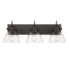 This item: Hines Rubbed Bronze Seeded Glass 25-Inch Three-Light Bath Vanity