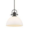 This item: Hines Rubbed Bronze Opal Glass 14-Inch One-Light Pendant