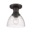 This item: Hines Rubbed Bronze Seeded Glass Seven-Inch One-Light Semi Flush Mount