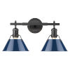 This item: Orwell Matte Black 18-Inch Two-Light Bath Vanity with Navy Blue Shade