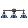 This item: Orwell Matte Black 24-Inch Three-Light Bath Vanity with Matte Navy Shade
