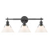 This item: Orwell Matte Black 24-Inch Three-Light Bath Vanity with Opal Glass Shade