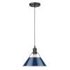 This item: Orwell Matte Black 10-Inch One-Light Pendant with Navy Blue Shade